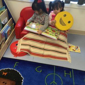 Daycare kids reading together